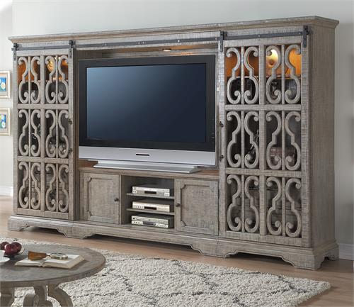 Artesia Collection Salvaged Natural Finish Entertainment Center 91760