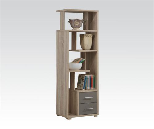 Bookcase with 2 Drawers,92094 acme, oak bookcase