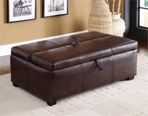 Ottoman in Brown with Pull Out Bed item #CM4703BRO by Import Direct