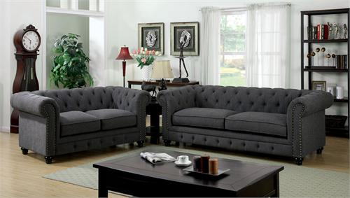 Stanford Gray Sofa Collection CM6269GY,CM6269 furniture of america,cm6269 sofa,grey sofa,gray sofa
