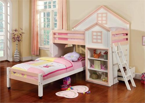 Citadel White Twin/Twin Loft Bed House Design,CM-BK131PW  FURNITURE OF AMERICA