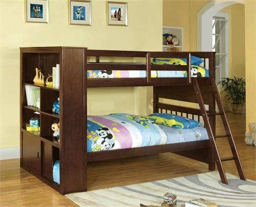Twin/Twin Bookcase Bunk Bed Dakota Ridge,item CM-BK147 by furniture of america,import direct furniture