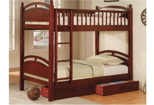 California I Twin /Twin Bunk Bed CM-BK600CH,cherry bunk bed,furniture of america bunk bed