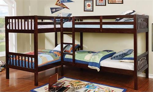 Marquette L-Shaped Quadruple Twin Bunk Bed,cm-bk904 furniture of america
