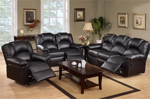 Black Recliner Sofa Set Style F6672