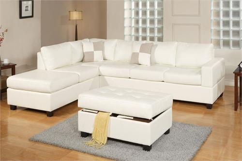 Cream Sectional and Storage Ottoman Style F7354