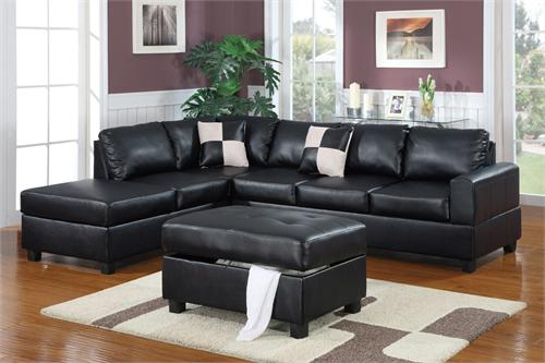 Black Sectional and Storage Ottoman by Poundex