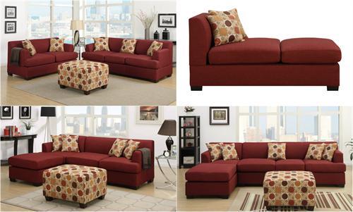 Dark Red Living Room Set