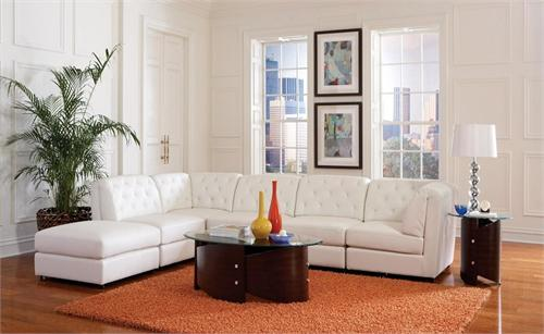 White Leather Modular Sectional Rosario Collection