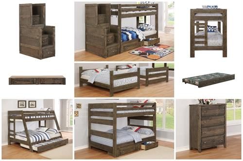 Wrangle Hil Bunk Bed Collection Gun Smoke Finish by Coaster