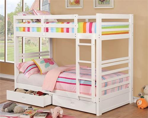California IV Twin/Twin White Bunk Bed ,cm-bk588t-wh bunk bed,cm-bk588t-wh furniture of america