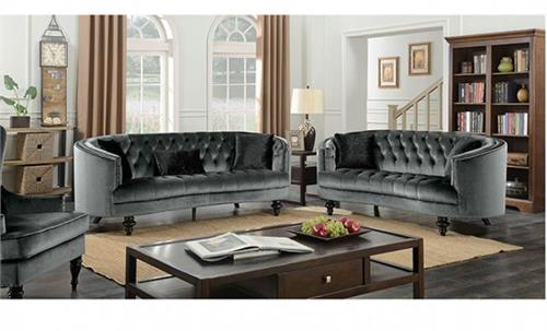 Manuela Dark Gray Sofa set Collection CM6145,cm6145gy,cm6145gy furniture of america