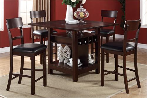 F2347 Poundex Counter Height Dining Built-In Lazy Susan