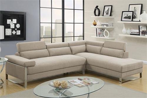 Sectional Sofa Beige Poundex F6540,f6540 poundex