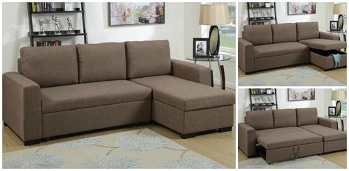 Light Coffee Sectional with Pull-Out Bed F6932 Poundex,f6932 poundex