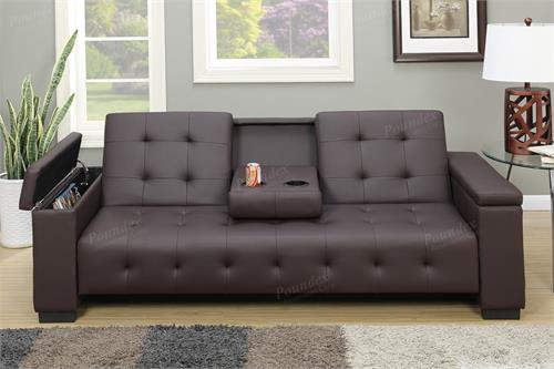 F7202 Poundex Adjustable Sofa With Console And Arm Compartment