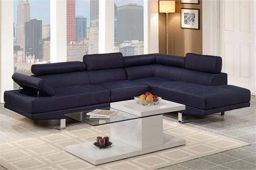 Dark Blue Linen Sectional Sofa Poundex F7569,f7569 poundex,blue sectional