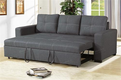 Blue Grey Convertible Sofa Poundex F6532,f6532 poundex