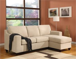Vogue Reversible Chaise Sectional beige microfiber by Acme