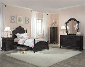Cinderella Collection Youth Bedroom in dark cherry finish,1386 homelegance
