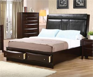 Leather Headboard Storage Bed - Pheonix Collection