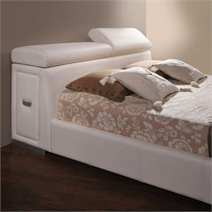 Manjot White Queen Bed with build-in nightstand ,item 20420Q by acme