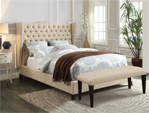 Faye Beige Linen Fabric Bed,20650 acme
