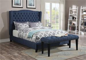 Faye Blue Linen Fabric Bed,20880 acme
