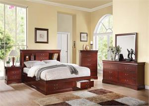 Louis Philippe III Cherry Bedroom Set with Storage,24380Q acme,24377EK acme,24374CK acme,19525 acme