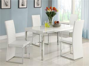 Clarice Collection Dining Set,2447 homelegance,glossy white table top,white modern chairs