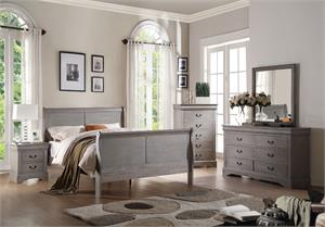 Louis Philippe III Antique Grey Bedroom Set,25500 acme,25506 acme,25510 acme,25505 acme