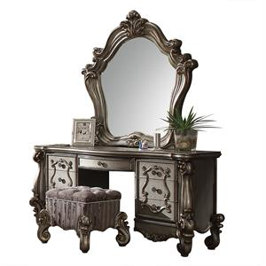 Versailles Collection Antique Platinum Finish Vanity Desk and Mirror 26847
