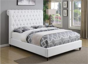 Devon White Upholstered Bed,300526 coaster,chesterfiled bed