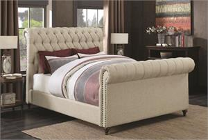 Gresham Beige Upholstered Bed ,300652 coaster, chesterfiled bed