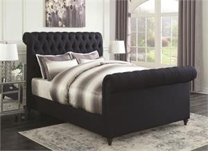 Gresham Navy Blue Upholstered Bed,300653 coaster Gresham Navy Blue Upholstered Bed,300653 bed