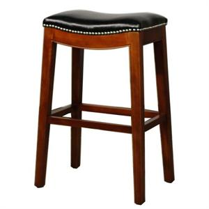 Black Elmo Leather Counter Stool by New Pacific Direct