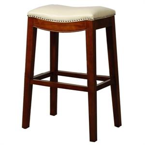 Beige Elmo Leather Counter Stool by New PAcific Direct