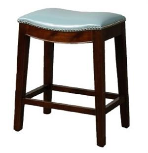 Blue Elmo Leather Counter Stool by New Pacific Direct