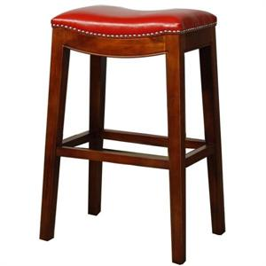 Red Elmo Leather Counter Stool by New Pacific Direct
