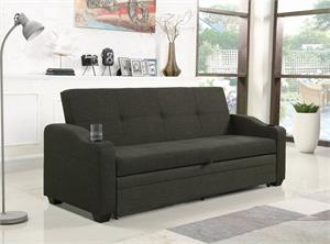 Miller Upholstered Sleeper Sofa Bed Charcoal Grey by Coaster Item 360063