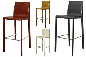 Gervin Recycled Leather Bar Stool
