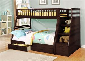 Dakota Espresso Staircase Twin/Full Bunk Bed ,4519211 bellaesprit