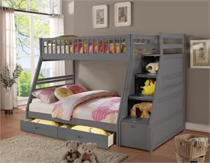 Dakota Rustic Grey Staircase Twin/Full Bunk Bed ,4519231 bellaesprit