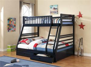 Cooper Navy Blue Twin over Full Bunk Bed,4601891 coaster,460181,460182,460183,460184