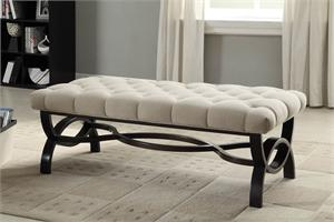 Tufted Linen Bench Marlena Collection,4768 homelegance,4768FA homelegance