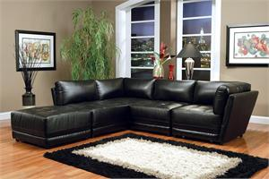 Black Modular Sectional Kayson Collection,Leather Black Modular Sectional -Vice Versa Collection by Coaster