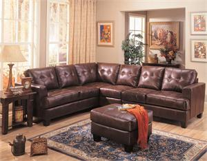 Dark Brown Leather Sectional Armless Chair and Ottoman - Samuel Collection by Coaster