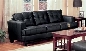 Black Leather Sofa - Samuel Collection by Coaster