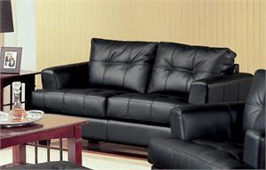 Black Leather Loveseat - Samuel Collection by Coaster