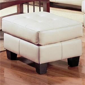 Cream Leather Ottoman Samuel Collection